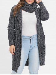 Front Pockets Plus Size Longline Cardigan -