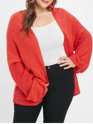 Open Front Plus Size Tunic Cardigan -