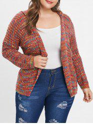 Colorized Open Front Plus Size Hooded Cardigan -