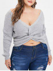 Back Twist Plus Size Scoop Neck Pullover Sweater -