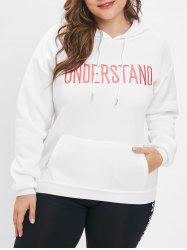 Plus Size Letter Pattern Pullover Hoodie -