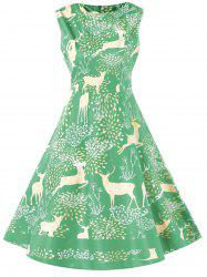 Vintage Christmas Elk Print Pin Up Dress -