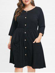 Front Pockets Plus Size Round Neck Dress -