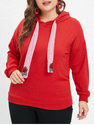 Drawstring Drop Shoulder Plus Size Hoodie -