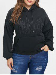 Plus Size Embroidery Letter Pullover Hoodie -