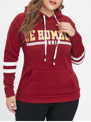 Drawstring Letter Print Plus Size Hoodie -