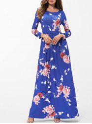 Floral Print Pockets Maxi Dress -