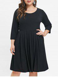 Round Neck Plus Size Knee Length Dress -