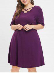 Plus Size Criss Cross Half Sleeve Shift Dress -