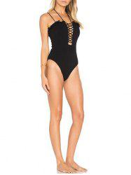 Strappy Lace Up One Piece Swimsuit -