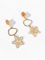 Star and Artificial Crystal Hollow Earrings -