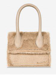 Fluffy Leather Letter Printed Tote Bag -