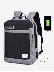 Letter Pattern USB Charging Anti-Theft Backpack -