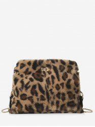 Fluffy Leopard Design Crossbody Bag -