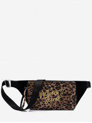 Leopard and Letter Pattern Crossbody Bag -