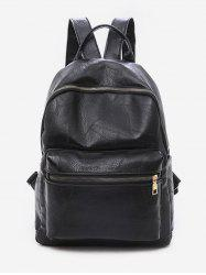 Solid Color PU Leather Design Backpack -