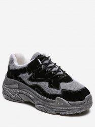 Contrast Lacing Platform Running Sneakers -