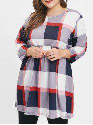 Plus Size Color Block Plaid Tunic Top -