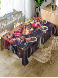 Christmas Dinner Printed Fabric Waterproof Table Cloth -
