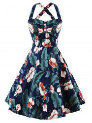 Plus Size Vintage Palm High Waisted Flare Dress -