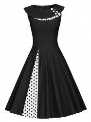 Plus Size Vintage Polka Dot Buttons Sleeveless Flare Dress -