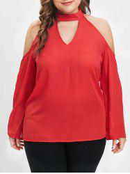 Plus Size Mock Neck Cold Shoulder Blouse with Cutout -