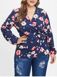 Plus Size Long Sleeves Floral Wrap Top -