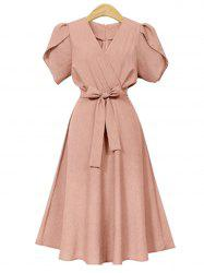 V Neck Plus Size A Line Dress with Belt -