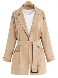 Plus Size Lapel Neck Belted Coat -
