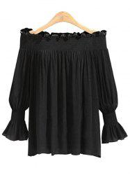 Plus Size Ruffle Trim Off The Shoulder Blouse -