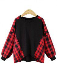 Plus Size Tartan Panel Round Neck Sweatshirt -