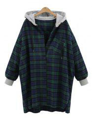Plus Size Tartan Hooded Coat -