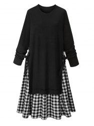 Plus Size Round Neck Gingham A Line Dress -