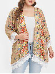 Plus Size Lace Panel Open Front Floral Coat -