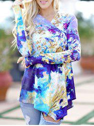 Abstract Print Long Sleeve Cardigan -