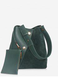 2Pcs Rivet Bucket Design Crossbody Bag -