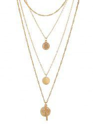 Layered Round Shape Cross Design Necklace -