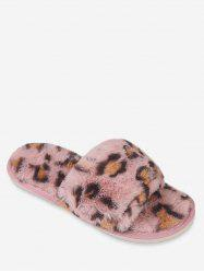 Leopard Print Faux Fur Slippers -
