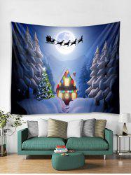 Christmas Night House Print Tapestry Wall Hanging Decor -