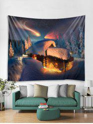 Christmas Forest House Print Tapestry Wall Hanging Decoration -