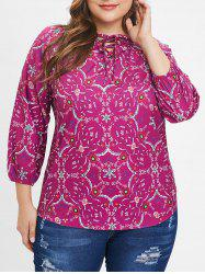 Plus Size Raglan Sleeves Floral Blouse with Lace Up -