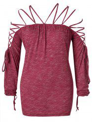 Plus Size Strappy Lace Up Space Dyed T-shirt -