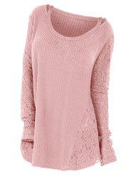 Plus Size Long Sleeves Cutout Tee with Lace -