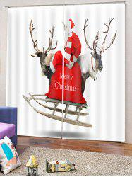 2PCS Deer Father Christmas Pattern Window Curtains -