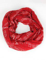 Spring Music Note Pattern Warm Infinity Scarf -
