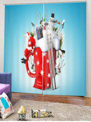 2PCS Father Christmas Deer Snowman Window Curtains -