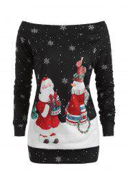 Off The Shoulder Christmas Santa Print Top -