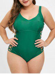 Plus Size Padded Criss Cross One Piece Swimwear -