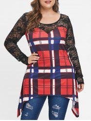 Plus Size Long Sleeves Plaid Tunic Top with Lace -