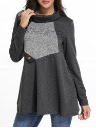 Cowl Neck Contrast Tunic T Shirt -